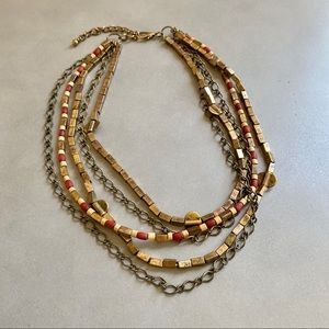 STACKED beaded & chain brass gold necklace